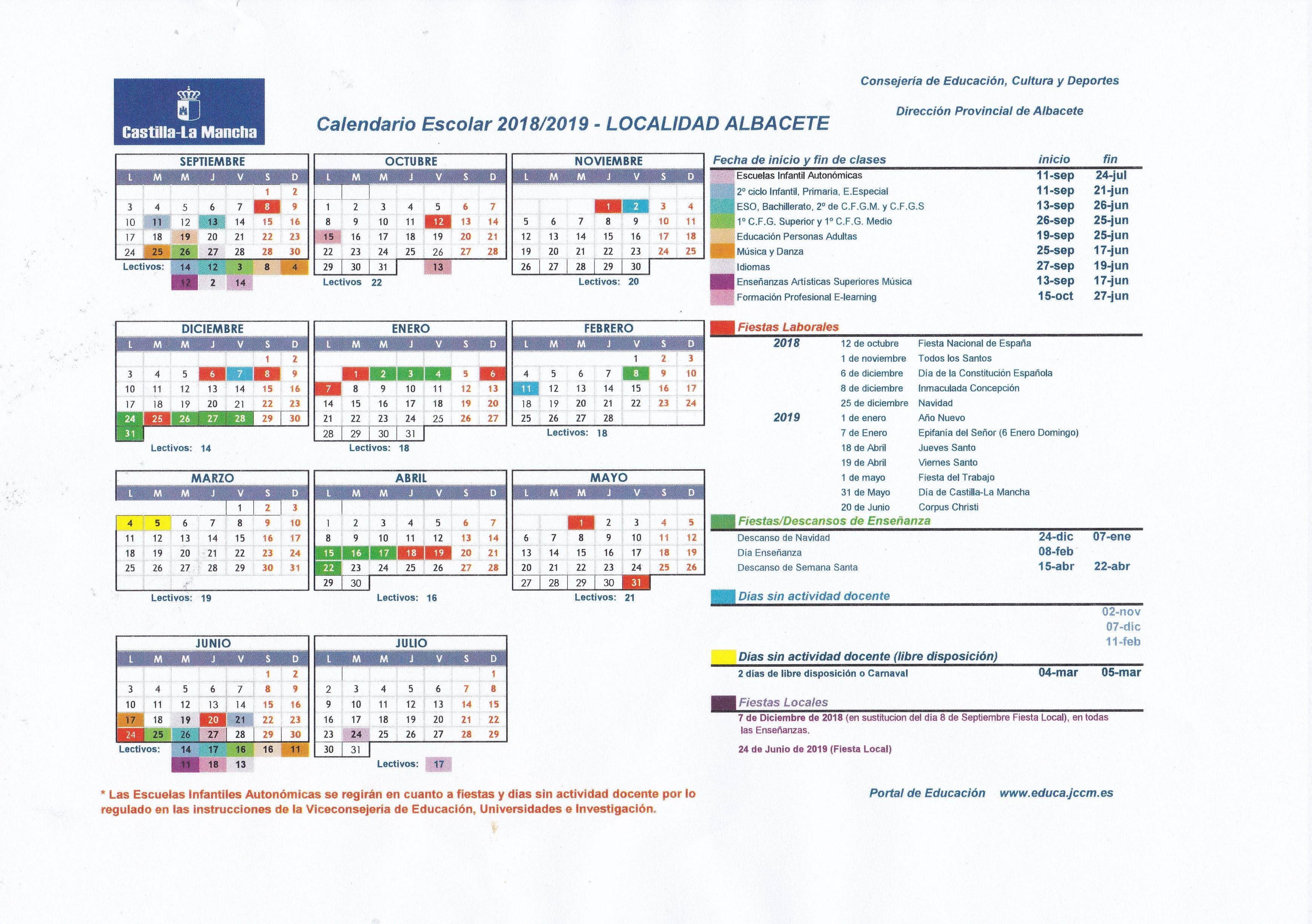Calendario Escolar 1819.Calendario Escolar 2018 19 Localidad Albacete Ceip Parque Sur