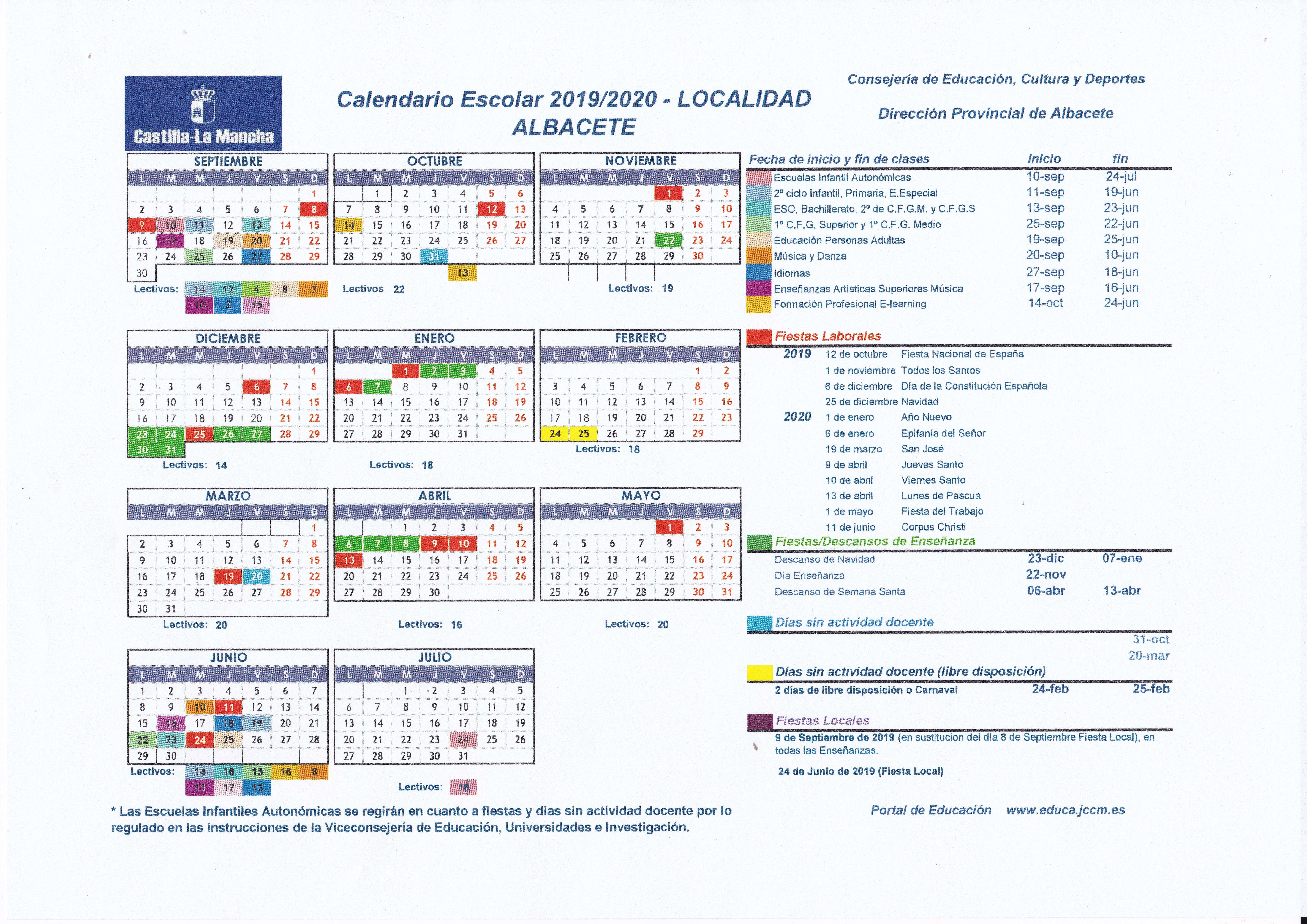 Calendario Escolar Asturias 2020 2019.Tablon De Anuncios Ceip Parque Sur Albacete